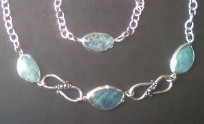 bracelet necklace with aquamarine